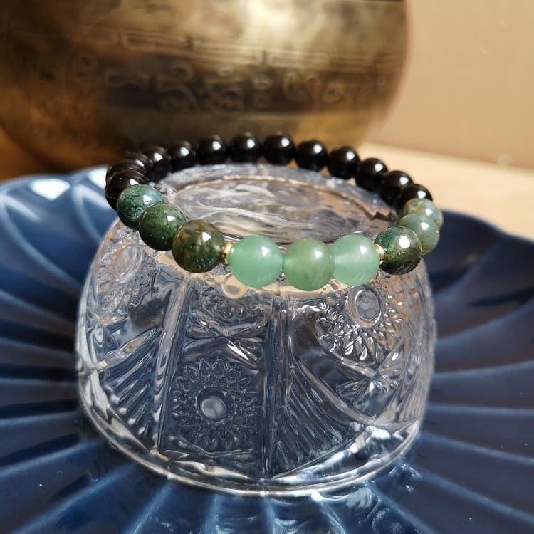 bracelet onyx, agate indienne et aventurine