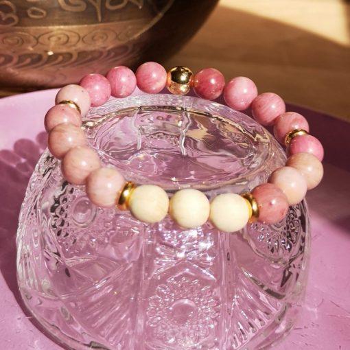 bracelet rhodonite et bois de santal