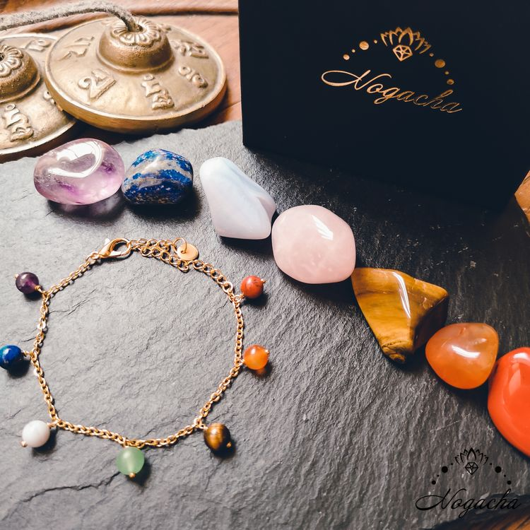 bracelet-7-chakras-chaine-metal