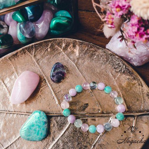 bracelet-en-pierres-charkra-coeur-amazonite-kunzite-fluorite