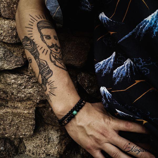 Bracelet-homme-pierre-de-lave-turquoise-africaine-vulcain